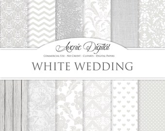 White Wedding Digital Paper. Scrapbooking Backgrounds, bridal gray patterns for save the date cards and invitation. Commercial Use, Download