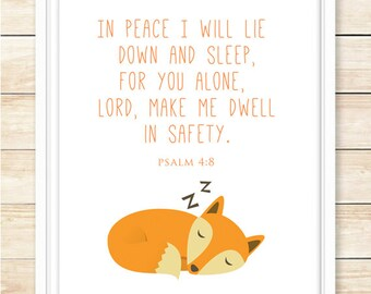 INSTANT DOWNLOAD, Psalm 4:8, Bible Verse Print, Printable Wall Art, Woodland Decor, Scripture Print, Fox Decor, Nursery Art, coffeeandcoco