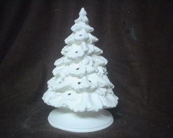 """Ceramic Bisque  8 1/2"""" Nowell Tree with Plain Base - Unpainted Ready to Paint - E586"""