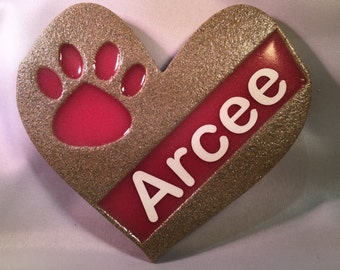 Personalized Paw Print On My Heart Decoration (Sand)
