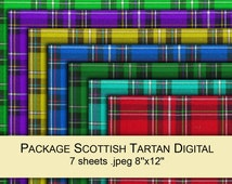 Tartan plaid Scottish red blue green yellow purple fabric digital paper PACK x7 for scrapbooking / gift wrap printable instant download