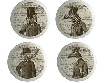 Steampunk Art Animal Portraits Ceramic Knobs, Drawer Pulls, Cabinet Knobs. Set of 4