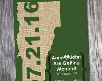 Save The Date { Vermont Map }