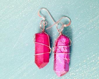 Pink Quartz Wire Wrap Earrings