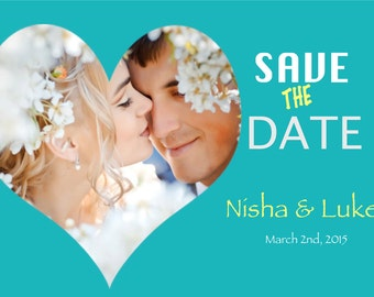 Digital File-Save The Date Teal and Yellow