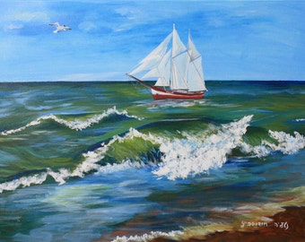 Acrylic Painting Canvas Art Boat on Sea Gull in the Sky Wall Home Decor Original Artwork Big Wave Landscape Sea 50x70 cm 19x27 inch