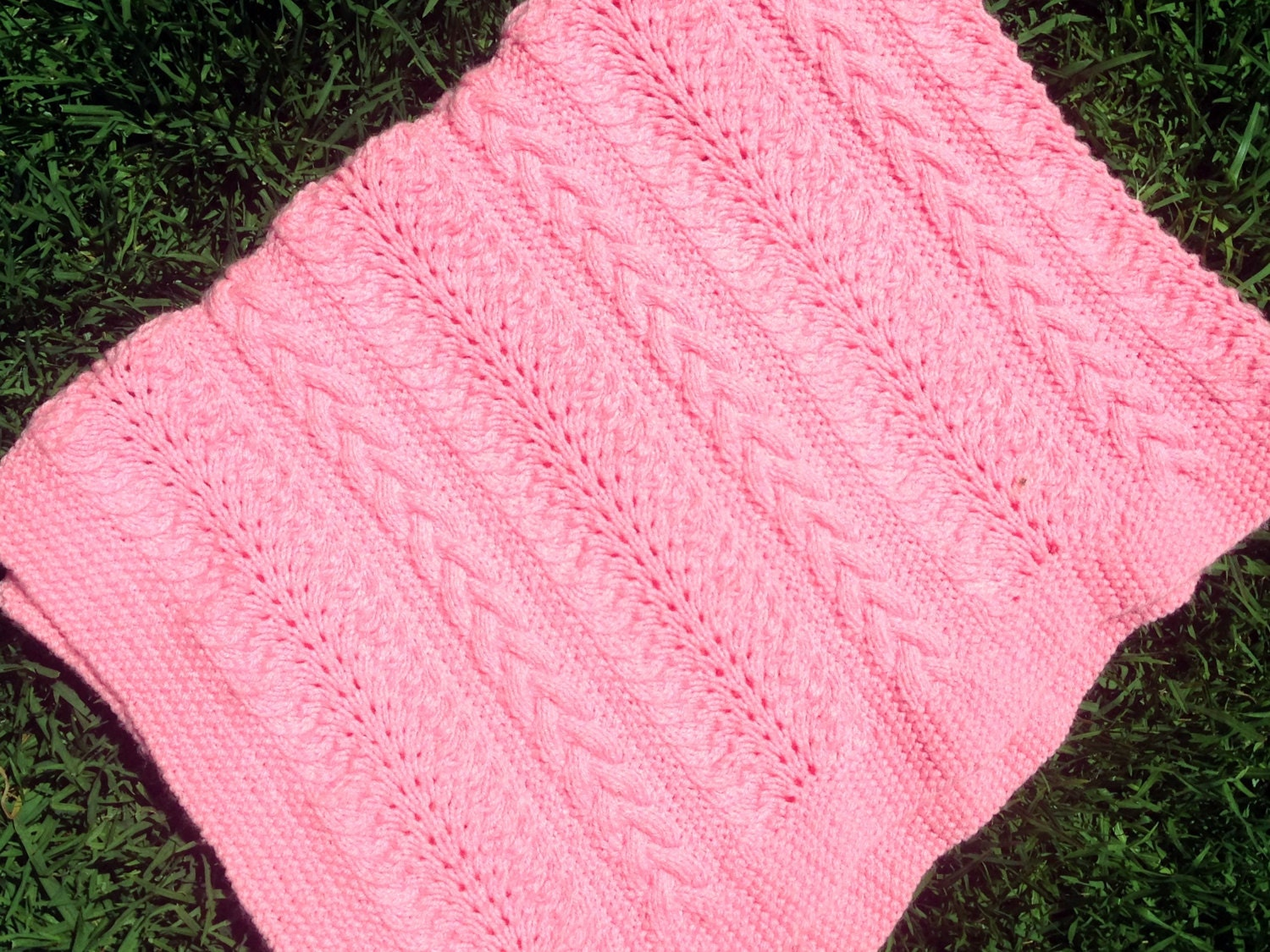 Baby Blanket Knitting Pattern Sandi Cable and Lace Baby