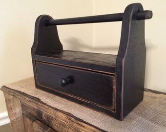 Primitive Paper Towel Stand with Drawer
