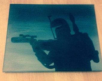 Star Wars Boba Fett oil painting on acrylic background