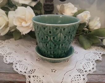 Vintage Green Flowerpot