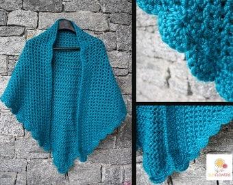Blue handmade crochet shawl
