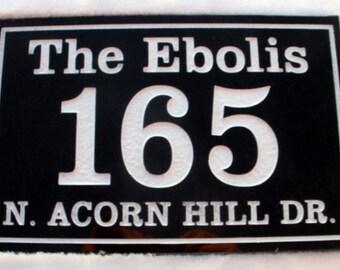 "Black Granite address plaque custom carved 8 x 12"""