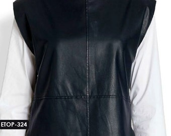 Genuine Soft Lambskin Leather Boat Neck Top