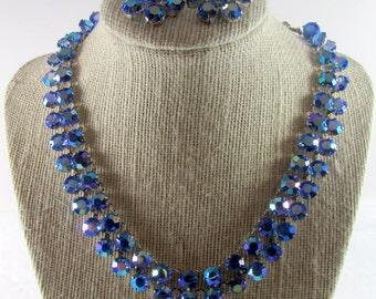 Blue Aurora Borealis Rhinestone Vintage Necklace & Earrings