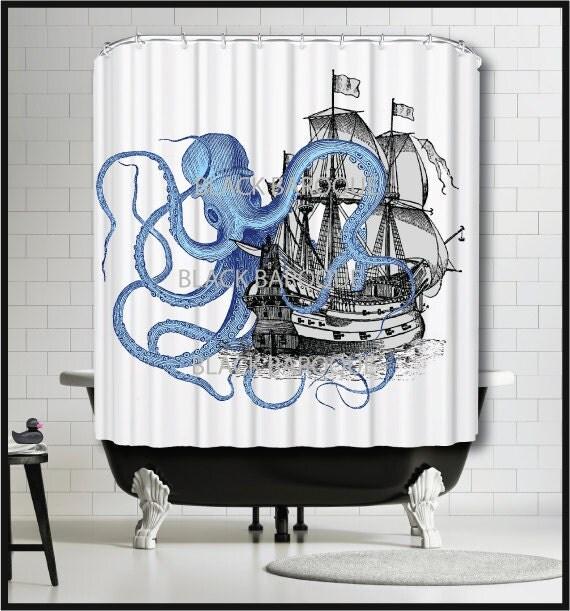 Blue Octopus Ship Shower Curtain - Tall Ship Sailing Boat Kraken ...