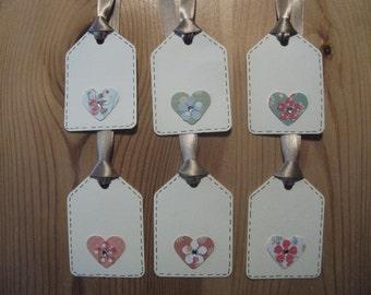 6pk - Handmade gift tags - Cream with hearts