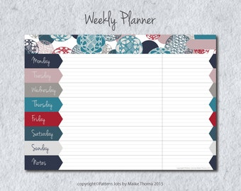 "DIY Weekly Planner, Printable Planner, Meal Planner, Weekly To Do List, Weekly Overview ""Floating Circles"", Instant Download"