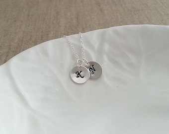 Two Initial Necklace. Initial Disc Necklace. Sterling Silver Necklace. Hand Stamped. Initial Discs. Two Discs Necklace. Couples Necklace