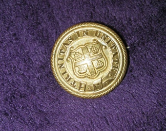 Vintage, Brass Badge, 'Trinitas In Unitate', Uniform button.