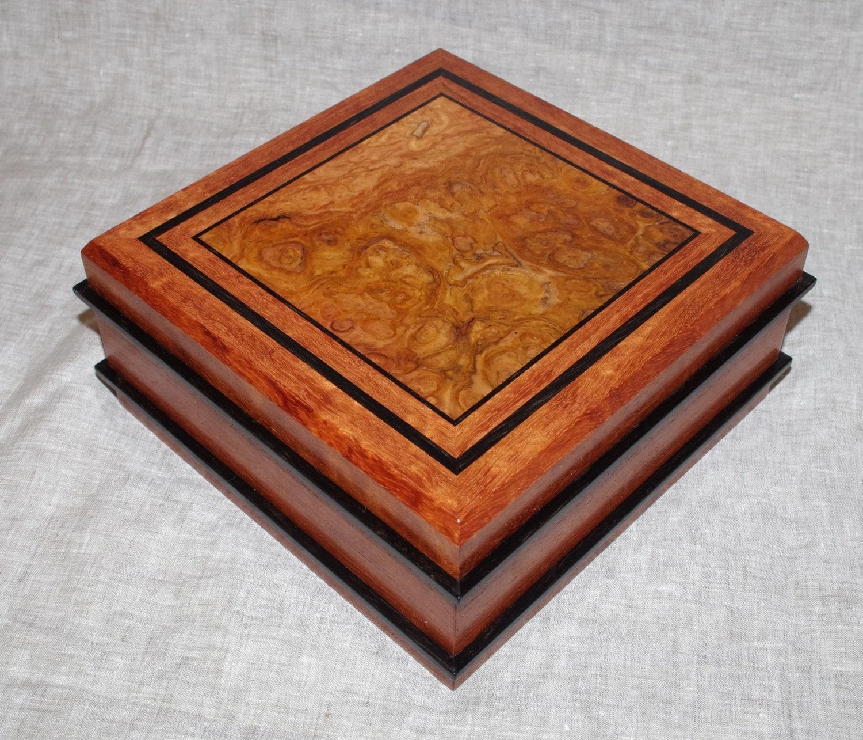 Handmade square wooden jewelry box keepsake box valet box for Handmade wooden jewelry box