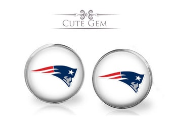 SUPER SALE - New England Patriots - Silver Glass Stud Earrings