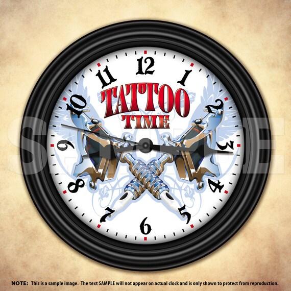 Man Cave Clock : Tattoo time man cave decorative wall clock