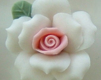 """White with Pink Porcelain Roses - 1"""""""