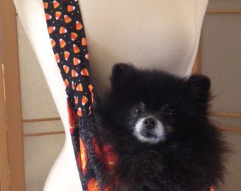 Doggy Bag Small Pet Sling Carrier Halloween print, 100% cotton fully lined