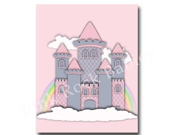 nursery princess castle wall decor nursery wall art baby girl room wall decor nursery art for baby girl room decor pink gray nursery decor