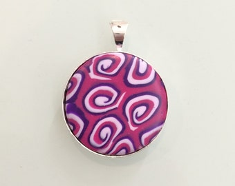 Round Pendant with Hand Sculpted Polymer Clay