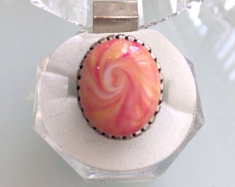Handmade Oval Shape Polymer Clay Ring