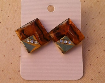 Vintage Brown/Gold/Rhinestone Earrings