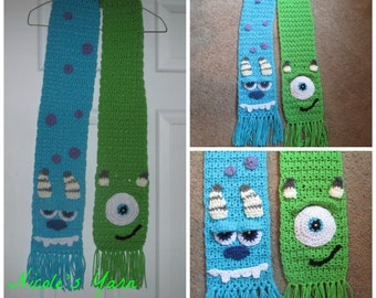Crochet Inspired  Monster Scarf/ Mike and Sulley--Costume--Dress up--Winter