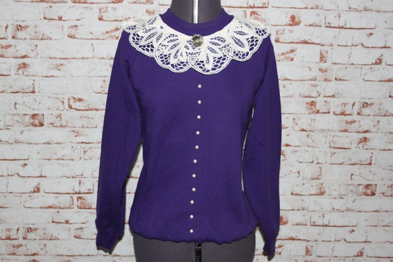 Purple, Frilly Laced neck with pearl detail. Size - Small