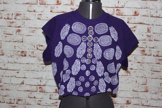 Purple Cropped short sleeved Jumper, Block printed tribal pattern, gem detail. Size - medium (10-12)