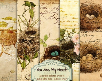 YOU ARE My NEST 5 digital collage sheet digital graphics - Digital collage sheet - instant download digital print - diary printable - pp182