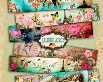 FRENCH TRIP banner - paris romantic images bracelet printable - Digital collage sheet instant download - background paper victorian- pp236