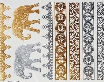 Metallic Tattoos, Henna Tattoos, Gold Tattoo, Henna Elephant Tattoo, Metallic Tattoos