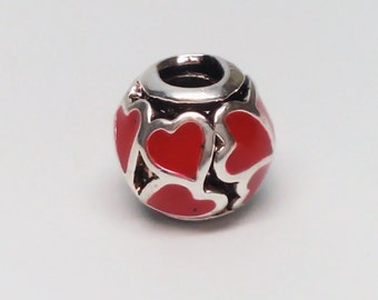 Sterling Silver 925 Charm Red Hot Love Hearts