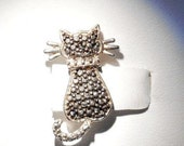 Sterling Silver Cat Charm with Marcasite Stones