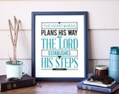 "Proverbs 16:9 - Men's Bible Wall Art Typography Print ""The heart of a man plans his way, but the LORD establishes his steps."" Proverbs 16-9"
