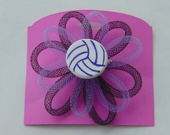 volleyball pin with mesh tubing and player number