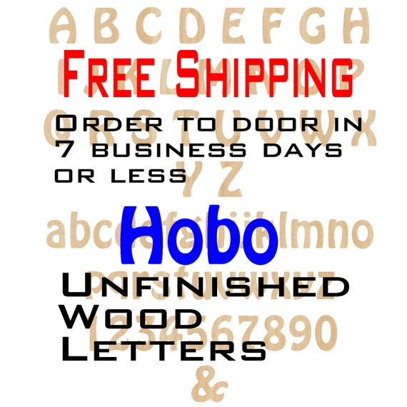 Unfinished Wood Letters Numbers, Free Shipping, Hobo Font, Wood Craft, laser cut wood, &, birch, wooden, wall, DIY, Wedding