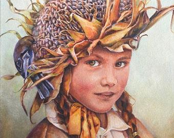 Greeting Cards, Birthday Cards, Child's Birthday Card, Blank Card, Garden, Sun Flower, Birds, Birdfeeder