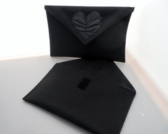 Black cotton bag with heart