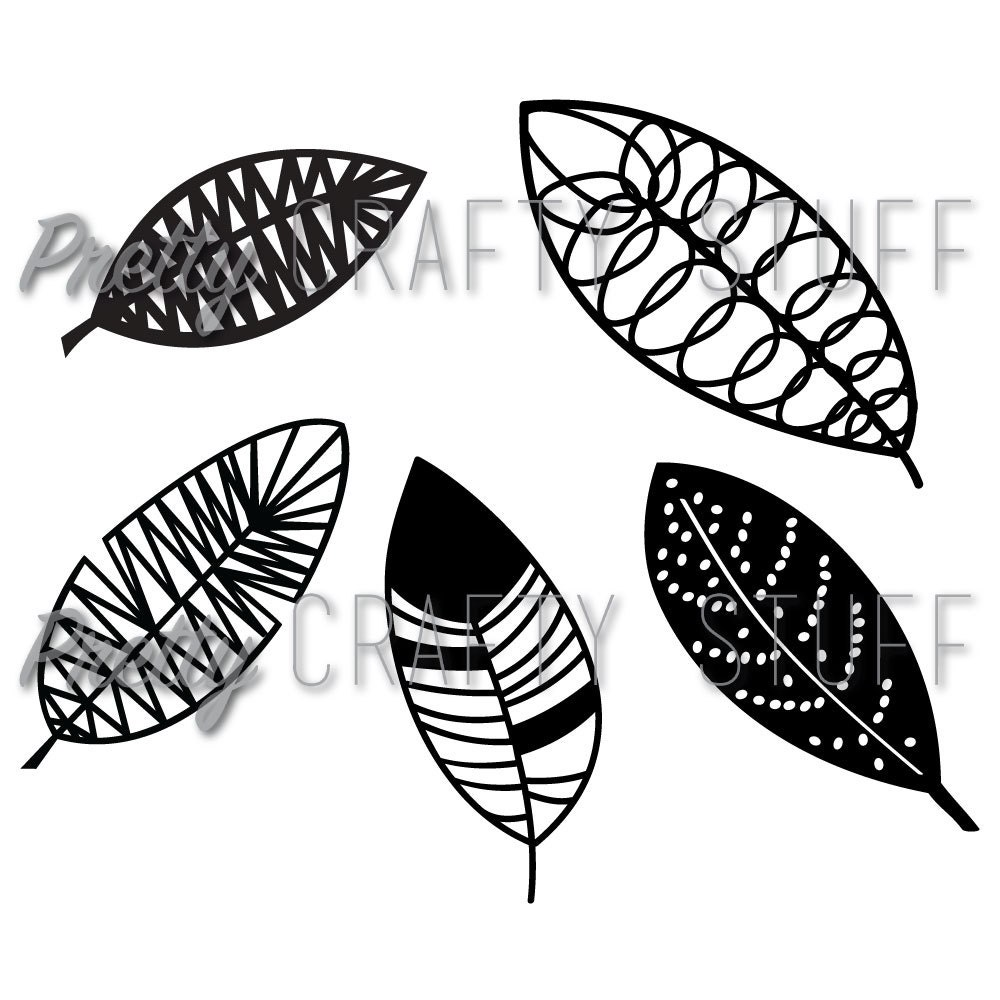 cut file leaves or feathers svg and png file for electronic