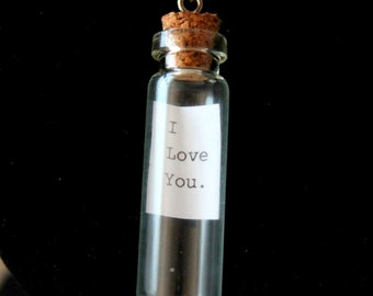 I Love You. Message In A Bottle Pendant On Silver Plated Chain