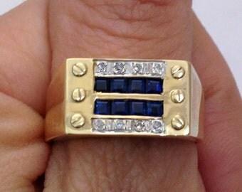 Mens Blue Sapphire and Diamond Gold Ring for Him Gentleman's Ring September Birthstone Birthday