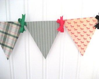 English Pleasure Mini Paper Pennant Banner / Dorm Decor / Horses / Riding / Birthday / Party / Garland / Bunting / Garland