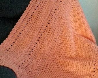Handmade Crochet Peach Throw Blanket